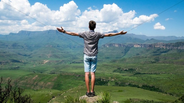 Man with Outstretched Arms Religious Stock Photo