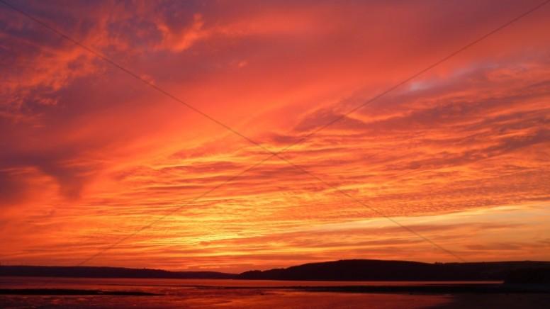Burning Sunset Religious Stock Photo