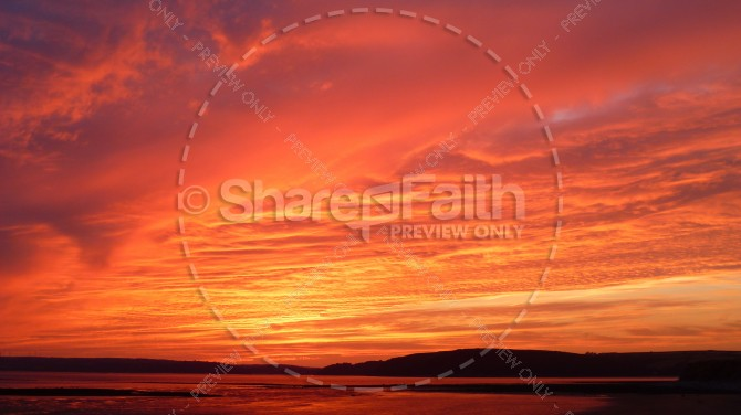 Burning Sunset Religious Stock Photo