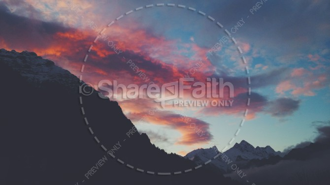 Sunset Clouds Over the Mountains Christian Stock Photo