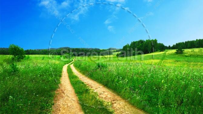Beaten Path Through a Field Religious Stock Photo