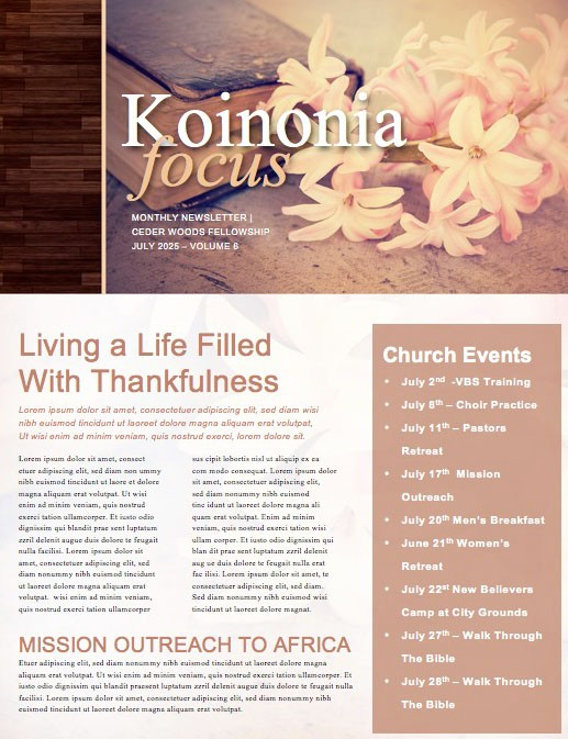 Women's Bible Study Church Newsletter Template