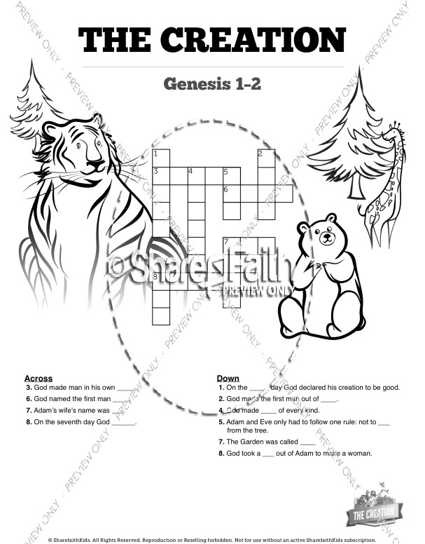 The Creation Story Sunday School Crossword Puzzle Sunday