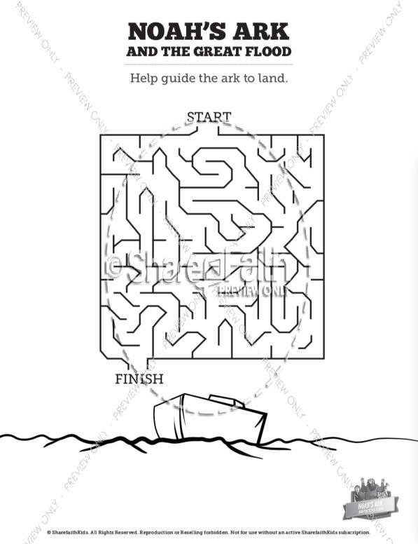 Noah S Ark Flood Bible Mazes Bible Mazes