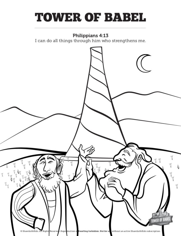 Tower of babel bible story for kids sunday school for Tower of babel coloring pages for kids