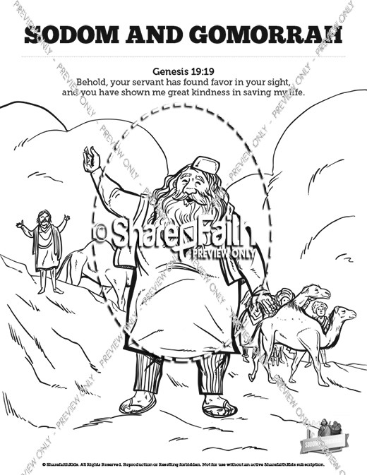 The Story Of Sodom and Gomorrah Sunday School Coloring