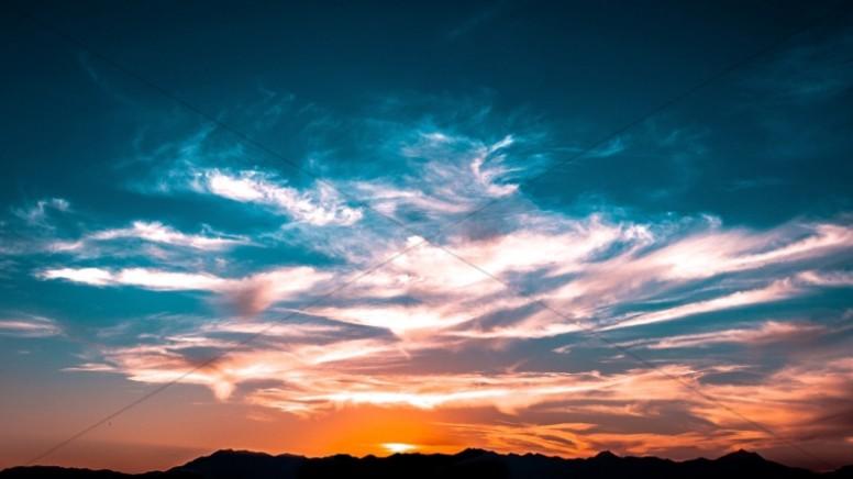 Cloudy Sky Sunset Religious Stock Photo