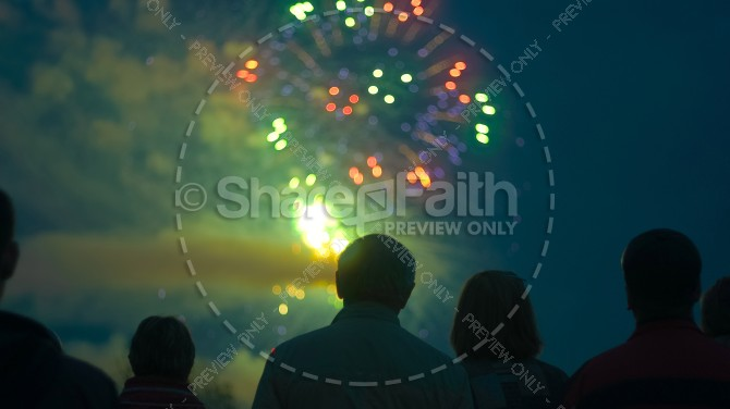 Independence Day Fireworks Christian Stock Photo
