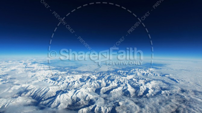 Snowy Mountains from Space Religious Stock Photo