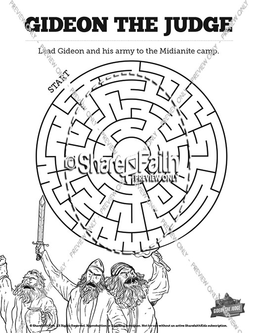 Judges 6 Gideon And The 300 Bible Mazes Bible Mazes