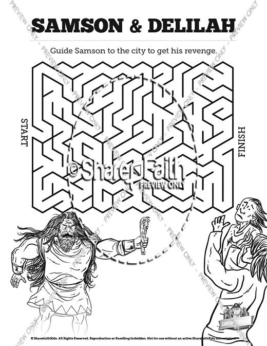 Samson And Delilah Bible Mazes Bible Mazes