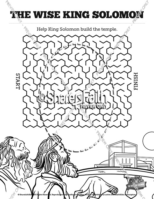 The Wisdom Of Solomon Bible Mazes Bible Mazes King Solomon Coloring Pages
