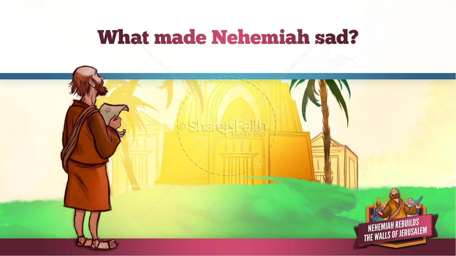 Free coloring pages nehemiah rebuilding wall -  Book Of Nehemiah Kids Bible Story