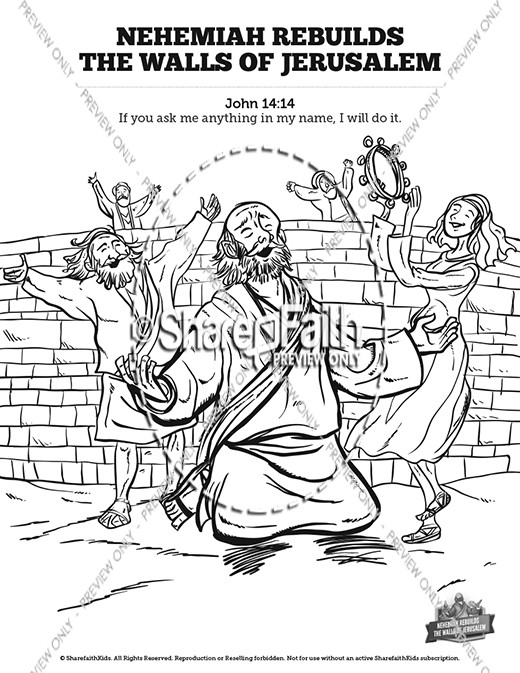 Nehemiah rebuilds the walls of jerusalem bible bookmarks for Nehemiah coloring page