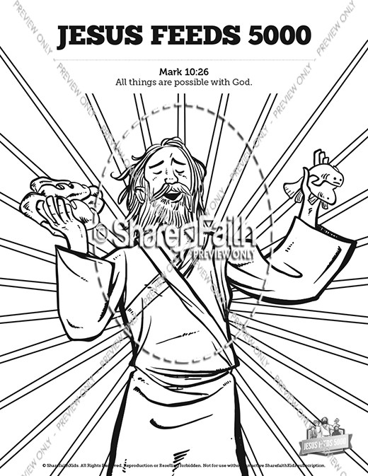 Jesus feeds 5000 sunday school coloring pages sunday for Feeding the five thousand coloring pages