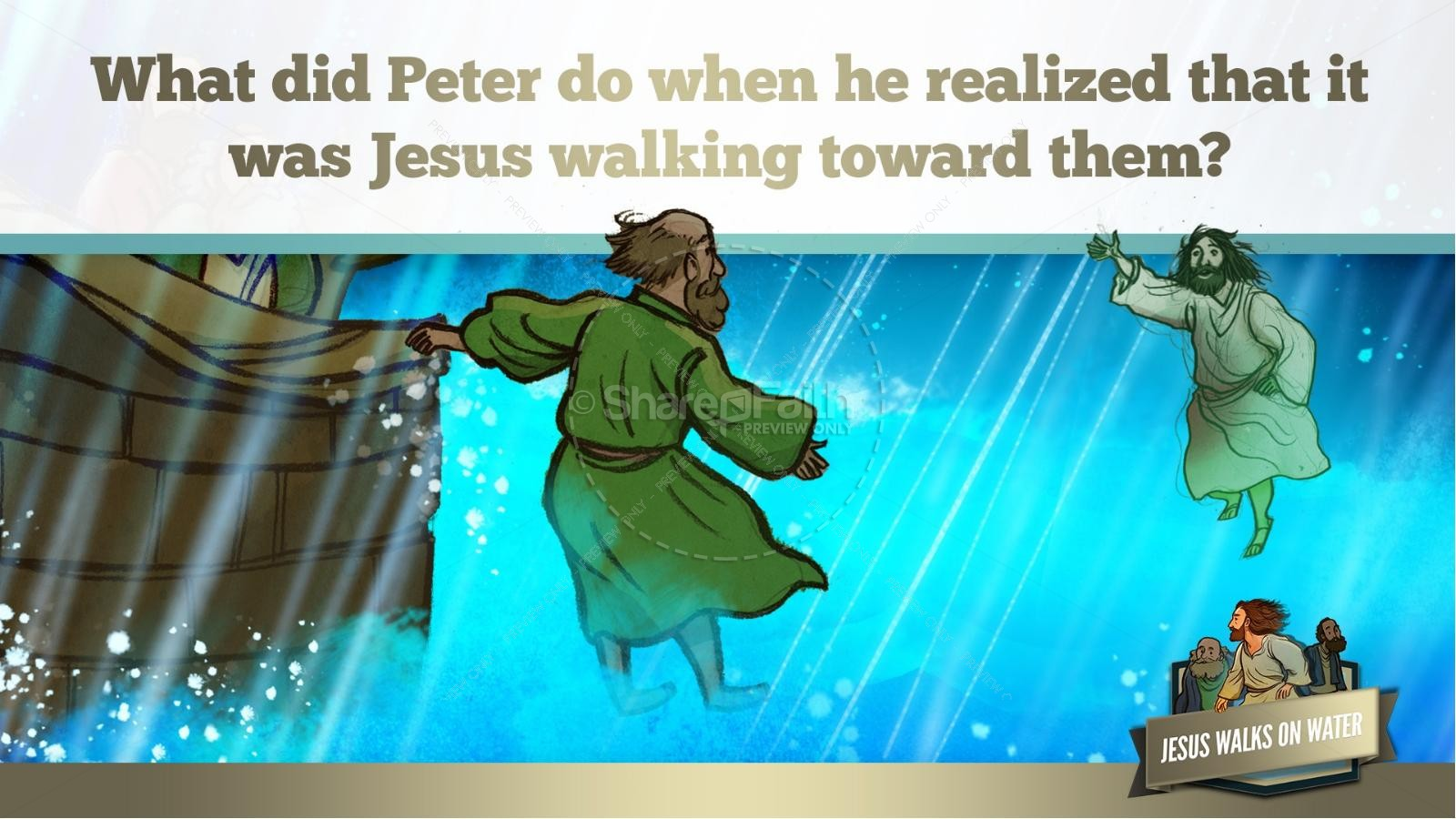 Jesus Walks On Water Kids Bible Story | slide 32