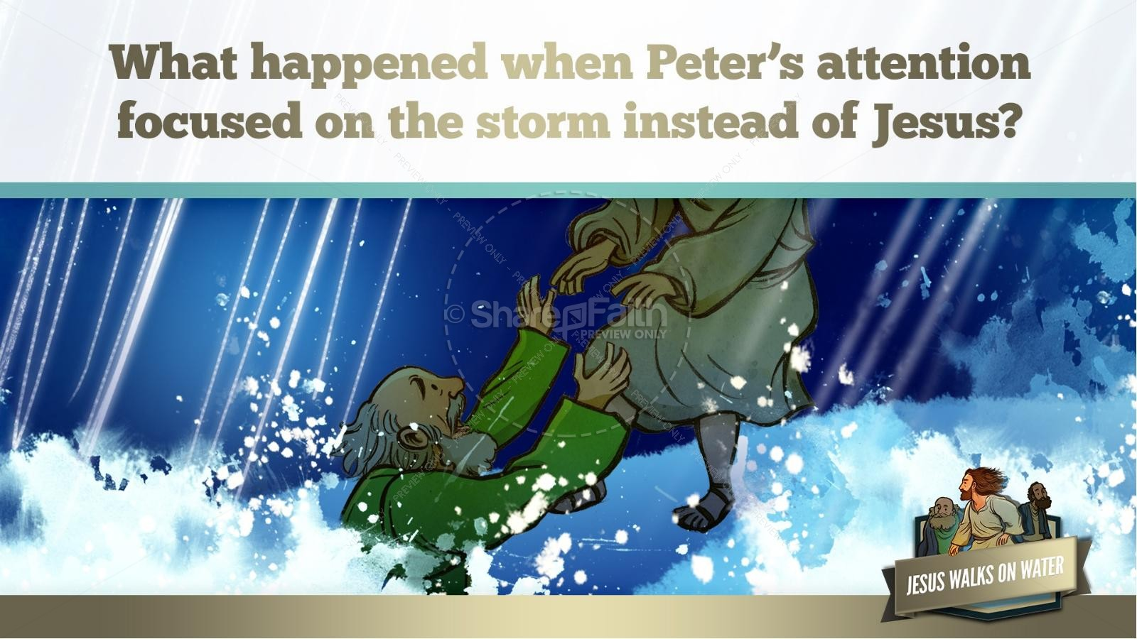 Jesus Walks On Water Kids Bible Story | slide 36