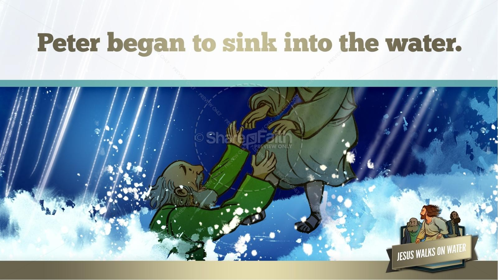 Jesus Walks On Water Kids Bible Story | slide 37