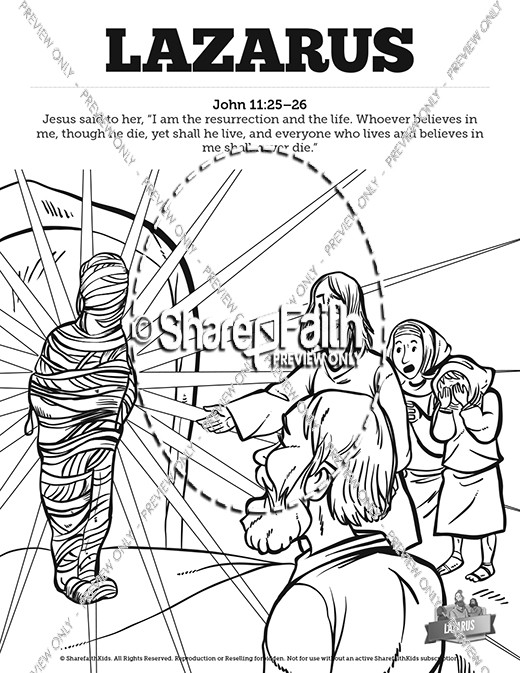 john 11 lazarus sunday school coloring pages