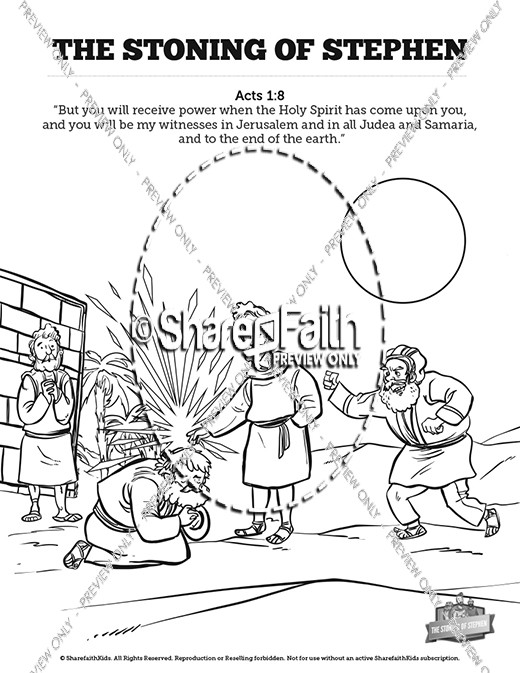 Acts 7 The Stoning Of Stephen Sunday School Coloring Pages