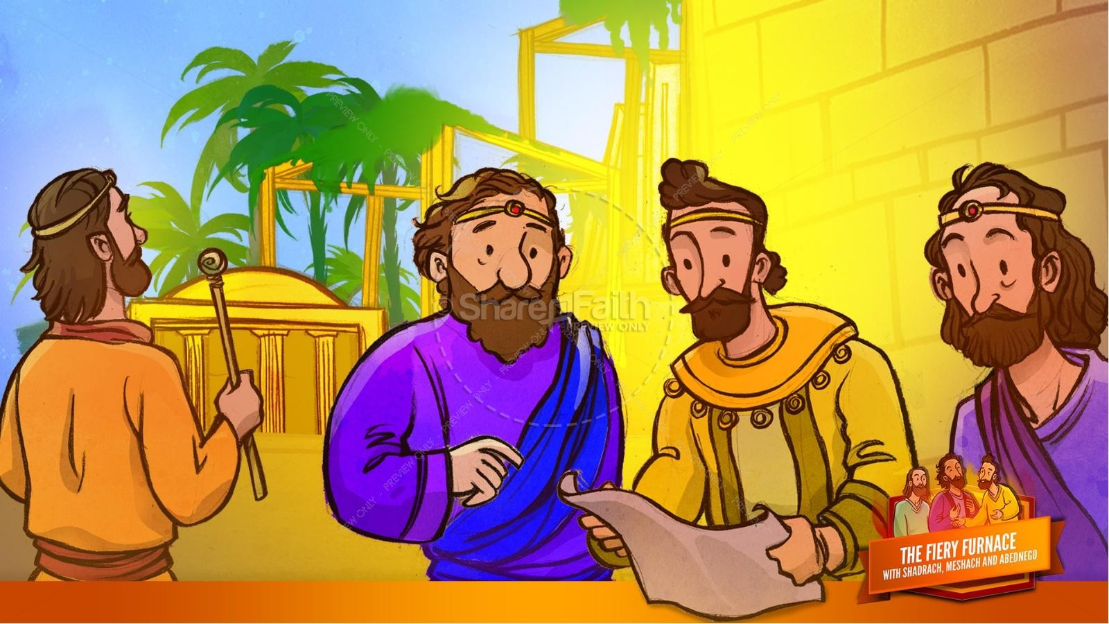 The Fiery Furnace with Shadrach, Meshach and Abednego Kids Bible Story | slide 19