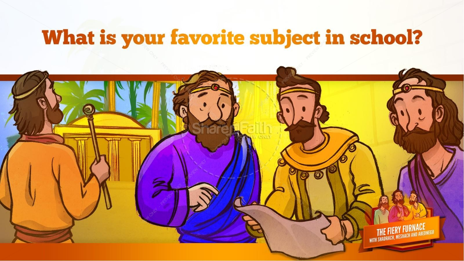 The Fiery Furnace with Shadrach, Meshach and Abednego Kids Bible Story | slide 22