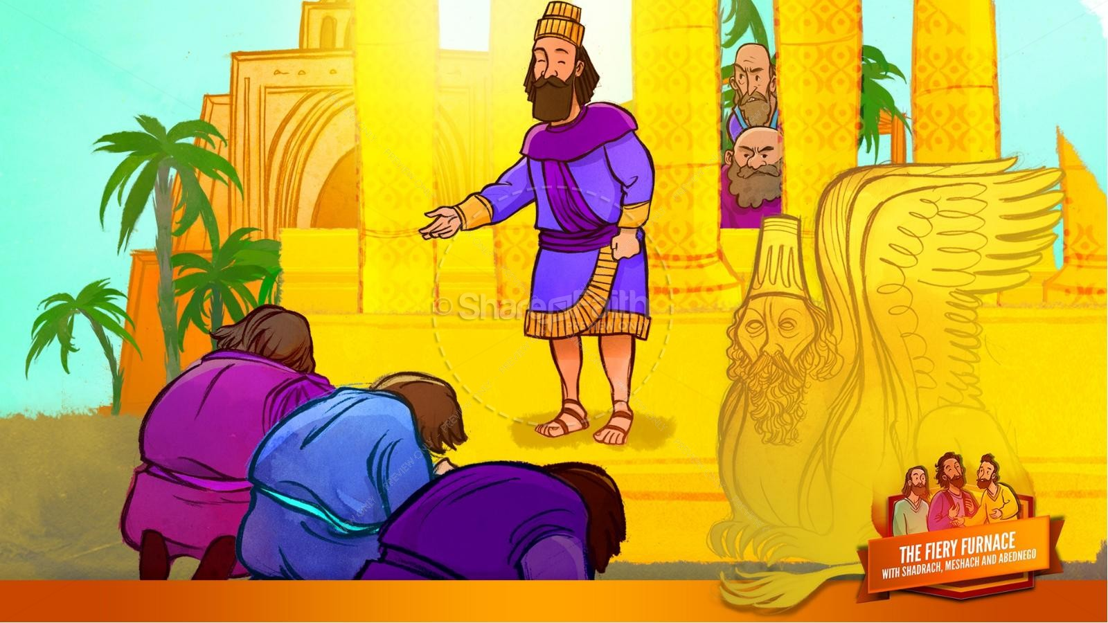 The Fiery Furnace with Shadrach, Meshach and Abednego Kids Bible Story | slide 23