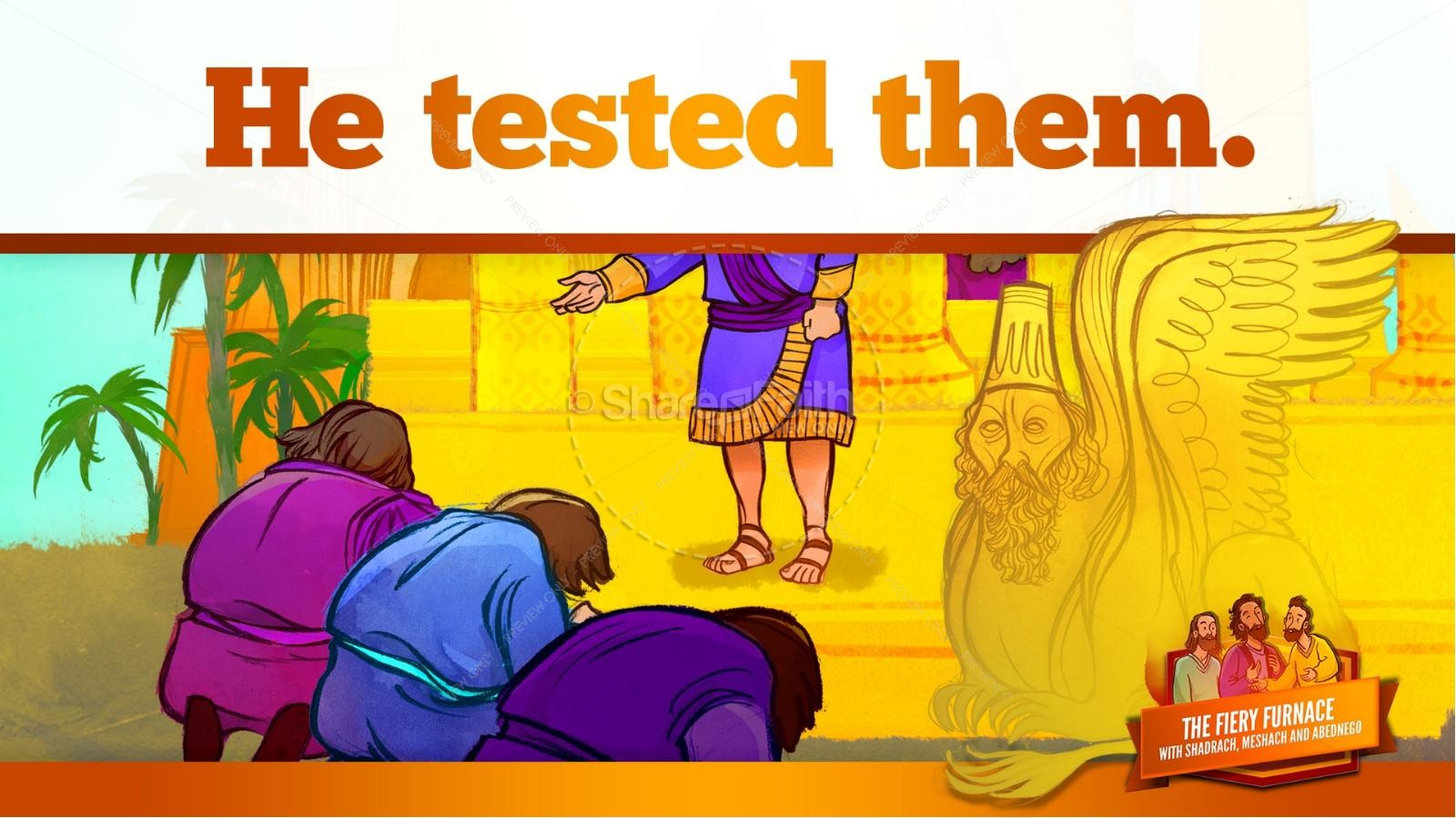 The Fiery Furnace with Shadrach, Meshach and Abednego Kids Bible Story | slide 25