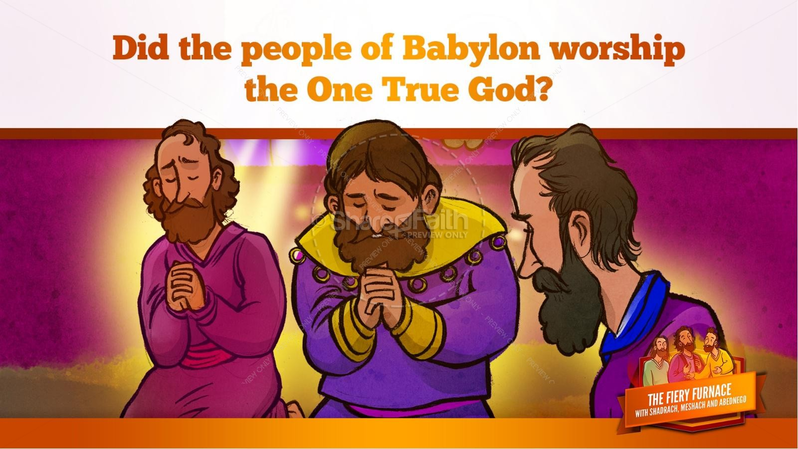 The Fiery Furnace with Shadrach, Meshach and Abednego Kids Bible Story | slide 28