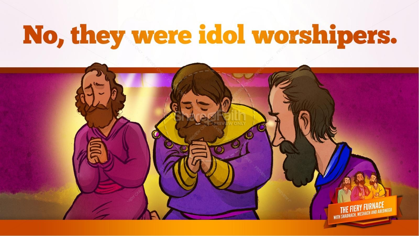 The Fiery Furnace with Shadrach, Meshach and Abednego Kids Bible Story | slide 29