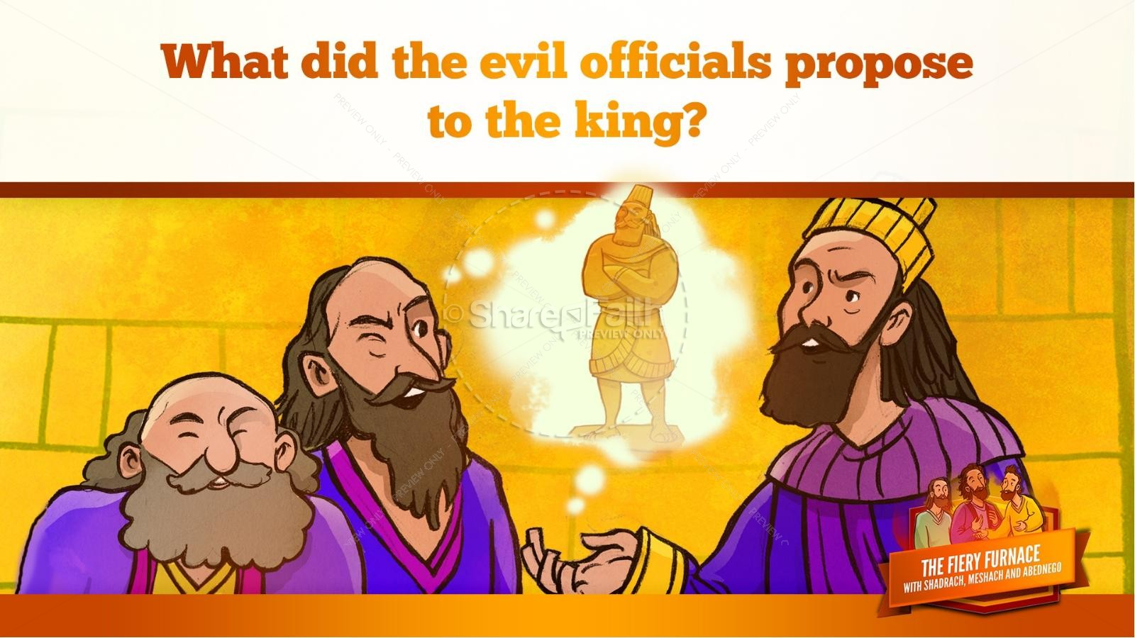 The Fiery Furnace with Shadrach, Meshach and Abednego Kids Bible Story | slide 32