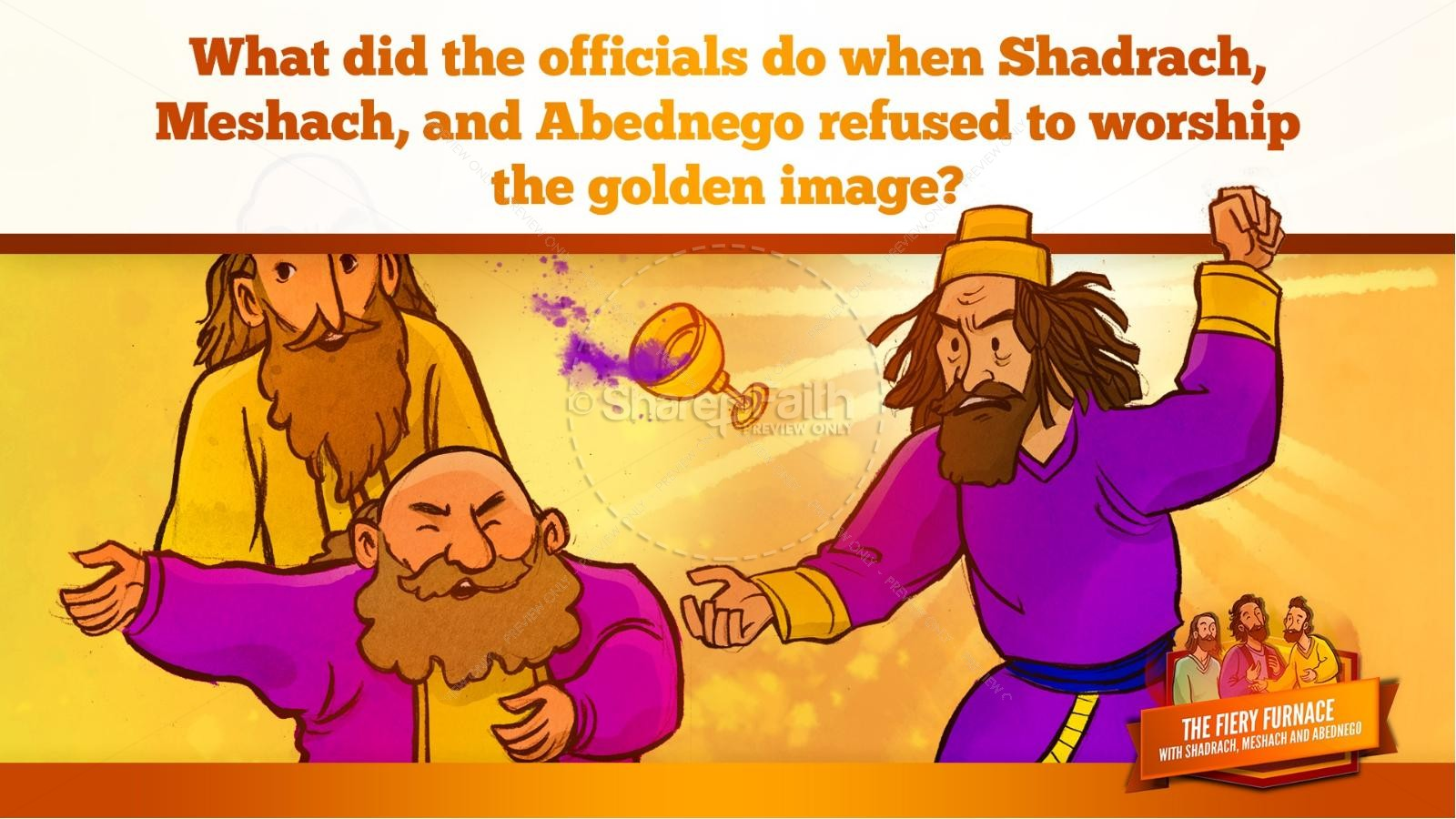 The Fiery Furnace with Shadrach, Meshach and Abednego Kids Bible Story | slide 40