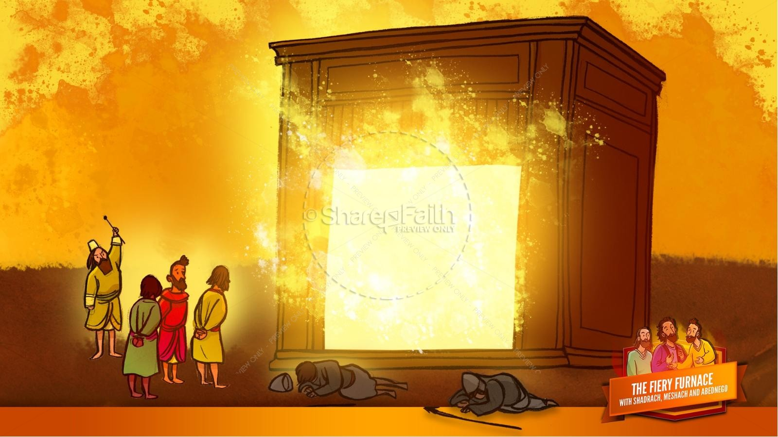 The Fiery Furnace with Shadrach, Meshach and Abednego Kids Bible Story | slide 47