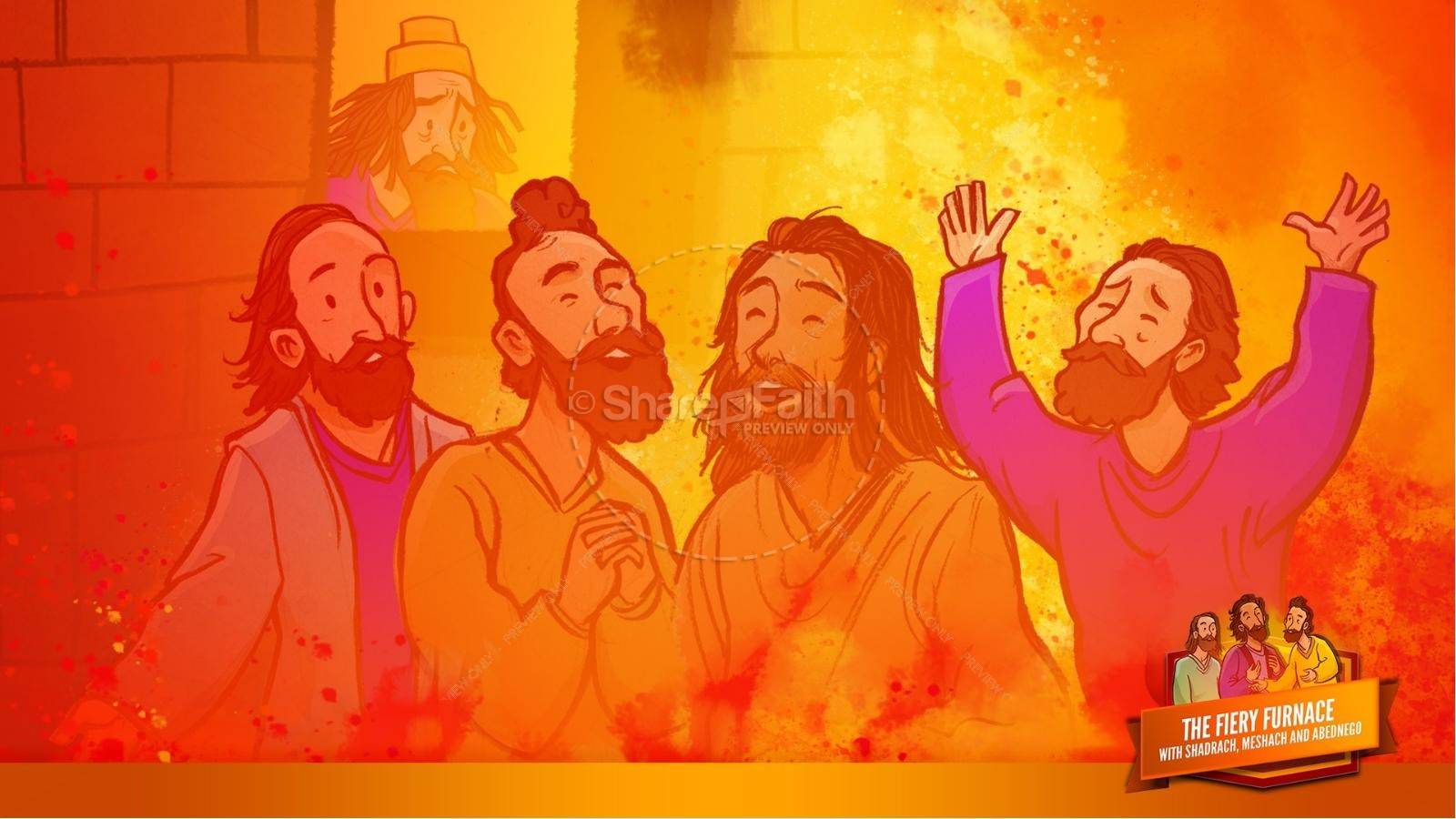 The Fiery Furnace with Shadrach, Meshach and Abednego Kids Bible Story | slide 55