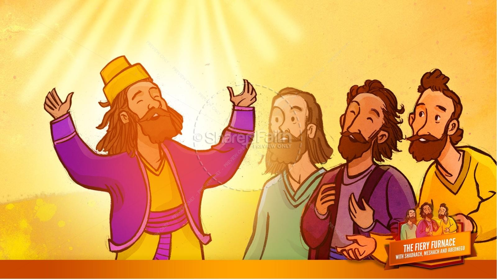 The Fiery Furnace with Shadrach, Meshach and Abednego Kids Bible Story   slide 59