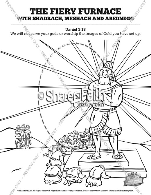 The fiery furnace with shadrach meshach and abednego for Nebuchadnezzar coloring page