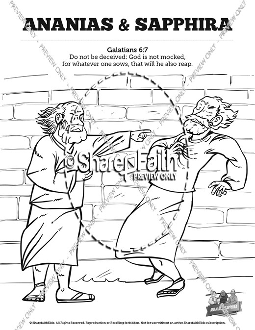 Acts 5 Ananias And Sapphira Sunday School Coloring Pages