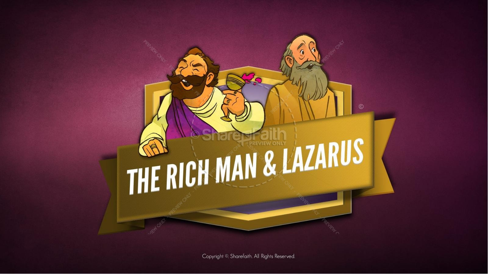 Luke 16 Lazarus and the Rich Man Kids Bible Story | slide 1