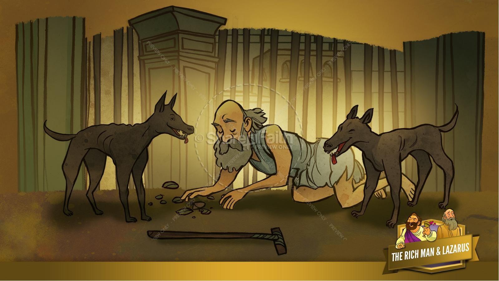 Luke 16 Lazarus and the Rich Man Kids Bible Story | slide 12
