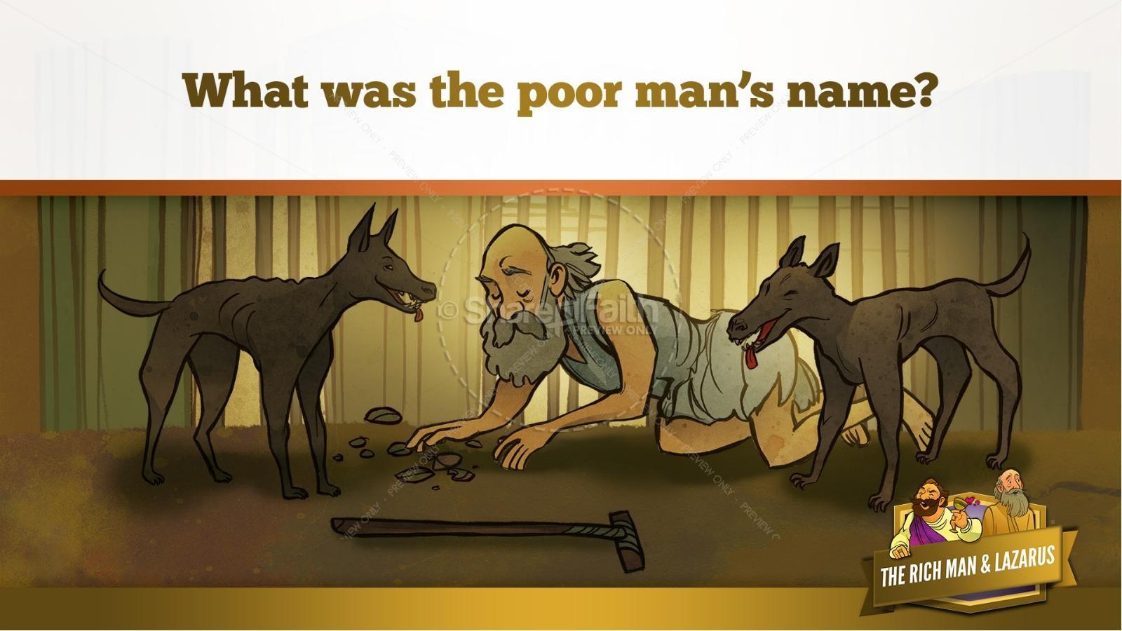 Luke 16 Lazarus and the Rich Man Kids Bible Story | slide 13
