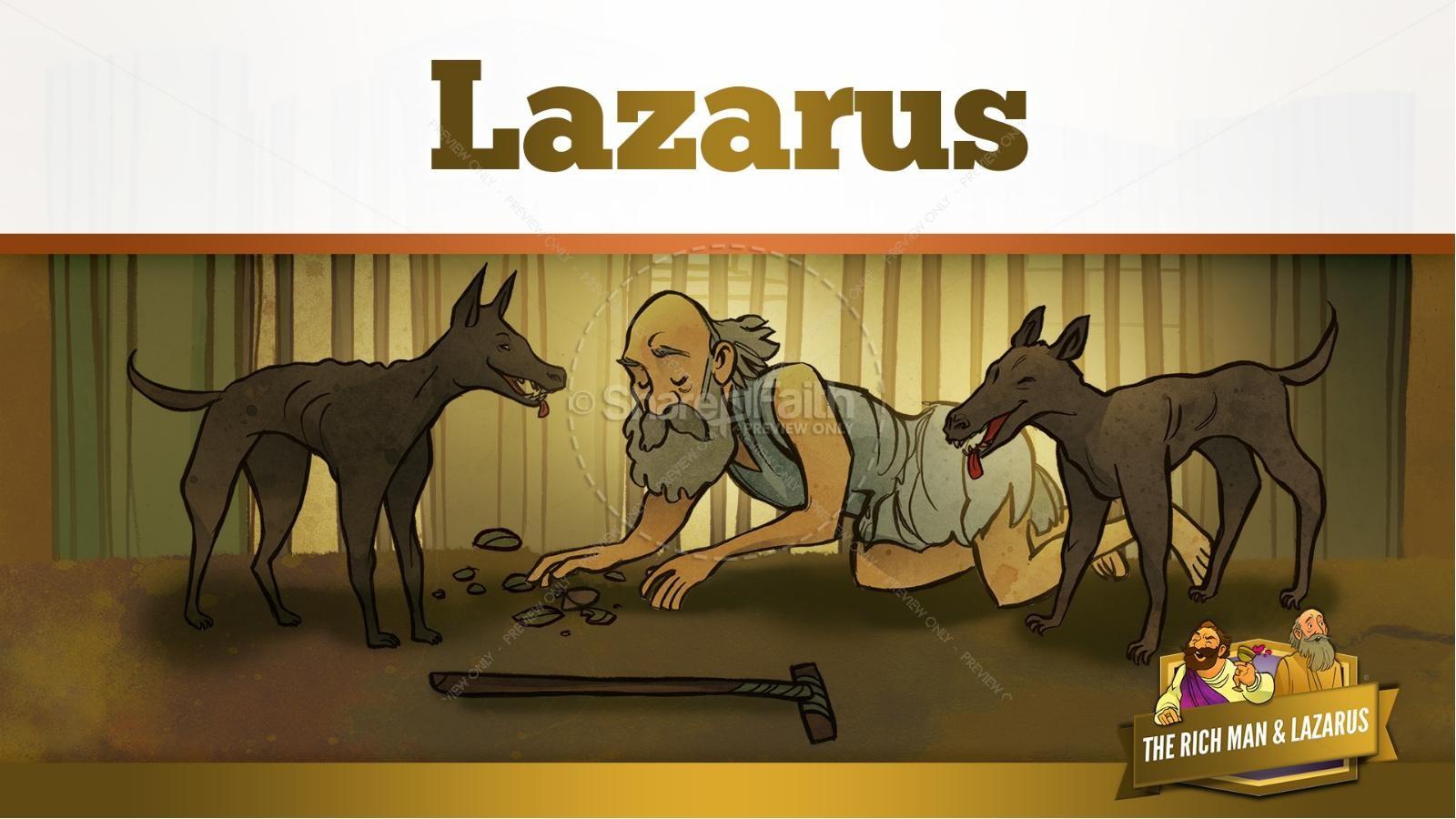 Luke 16 Lazarus and the Rich Man Kids Bible Story | slide 14