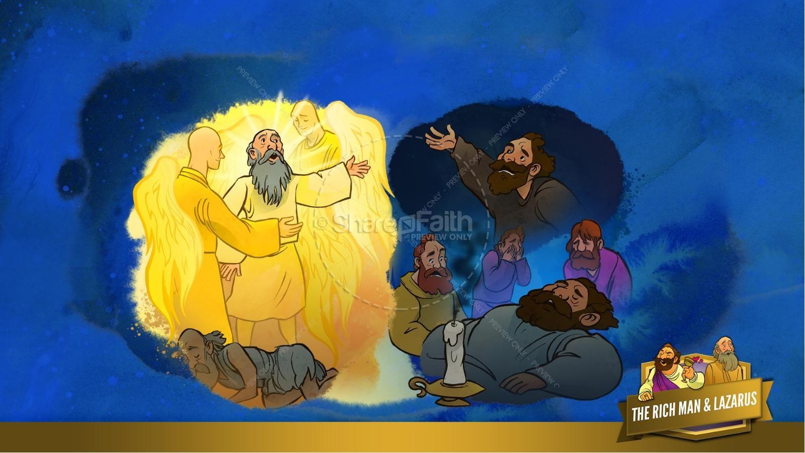 Luke 16 Lazarus and the Rich Man Kids Bible Story | slide 16