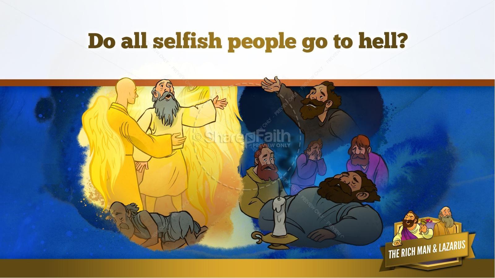 Luke 16 Lazarus and the Rich Man Kids Bible Story | slide 19