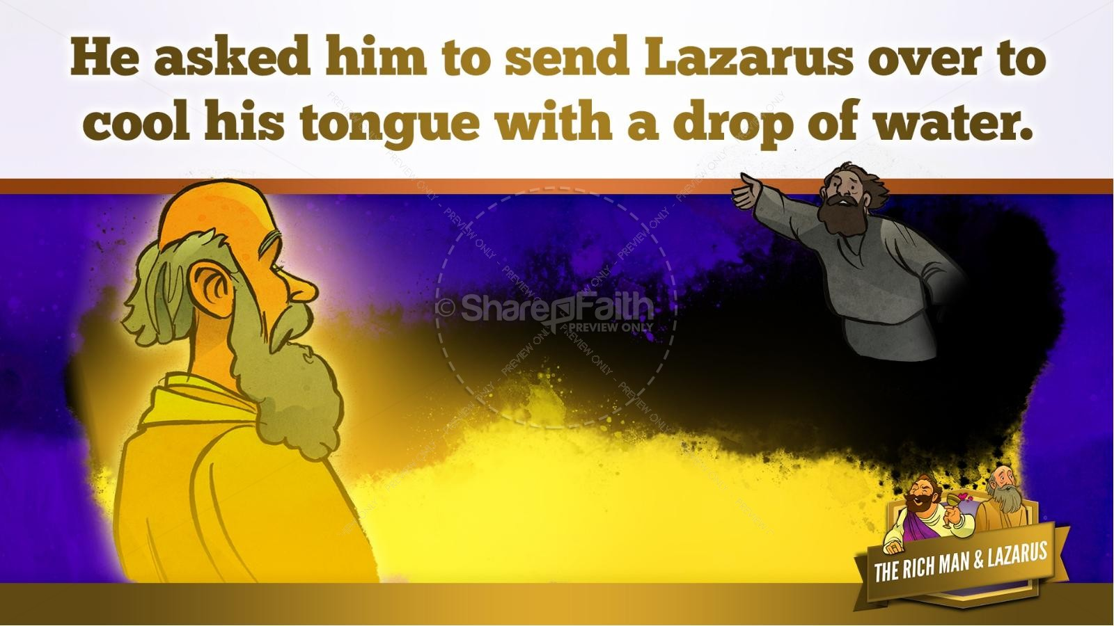 Luke 16 Lazarus and the Rich Man Kids Bible Story | slide 22