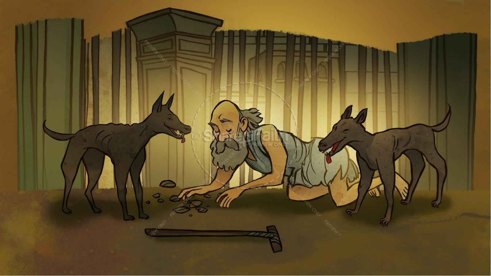 Luke 16 Lazarus and the Rich Man Kids Bible Story | slide 3