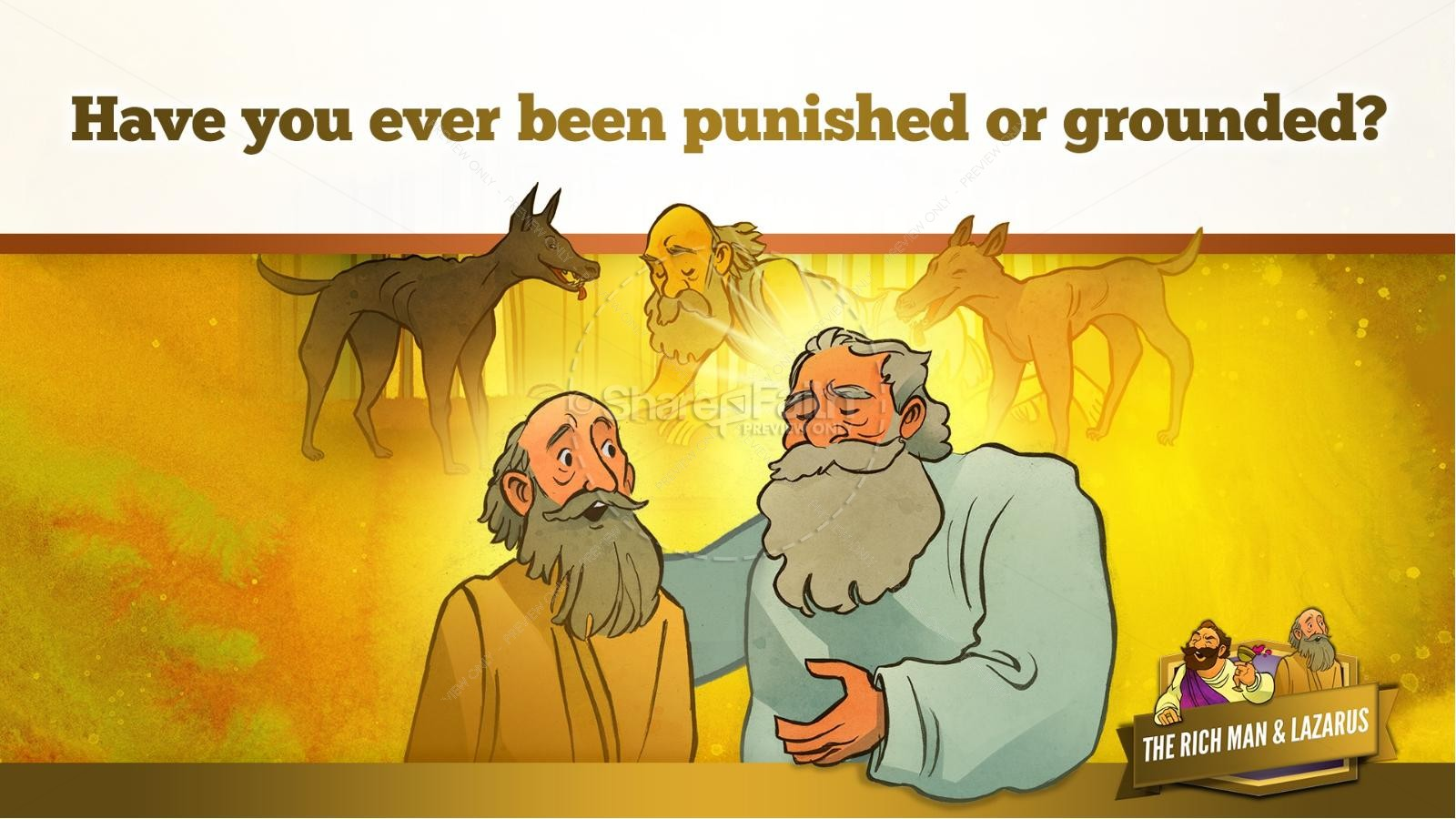 Luke 16 Lazarus and the Rich Man Kids Bible Story | slide 27