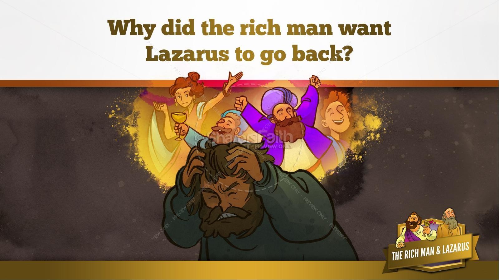Luke 16 Lazarus and the Rich Man Kids Bible Story | slide 29