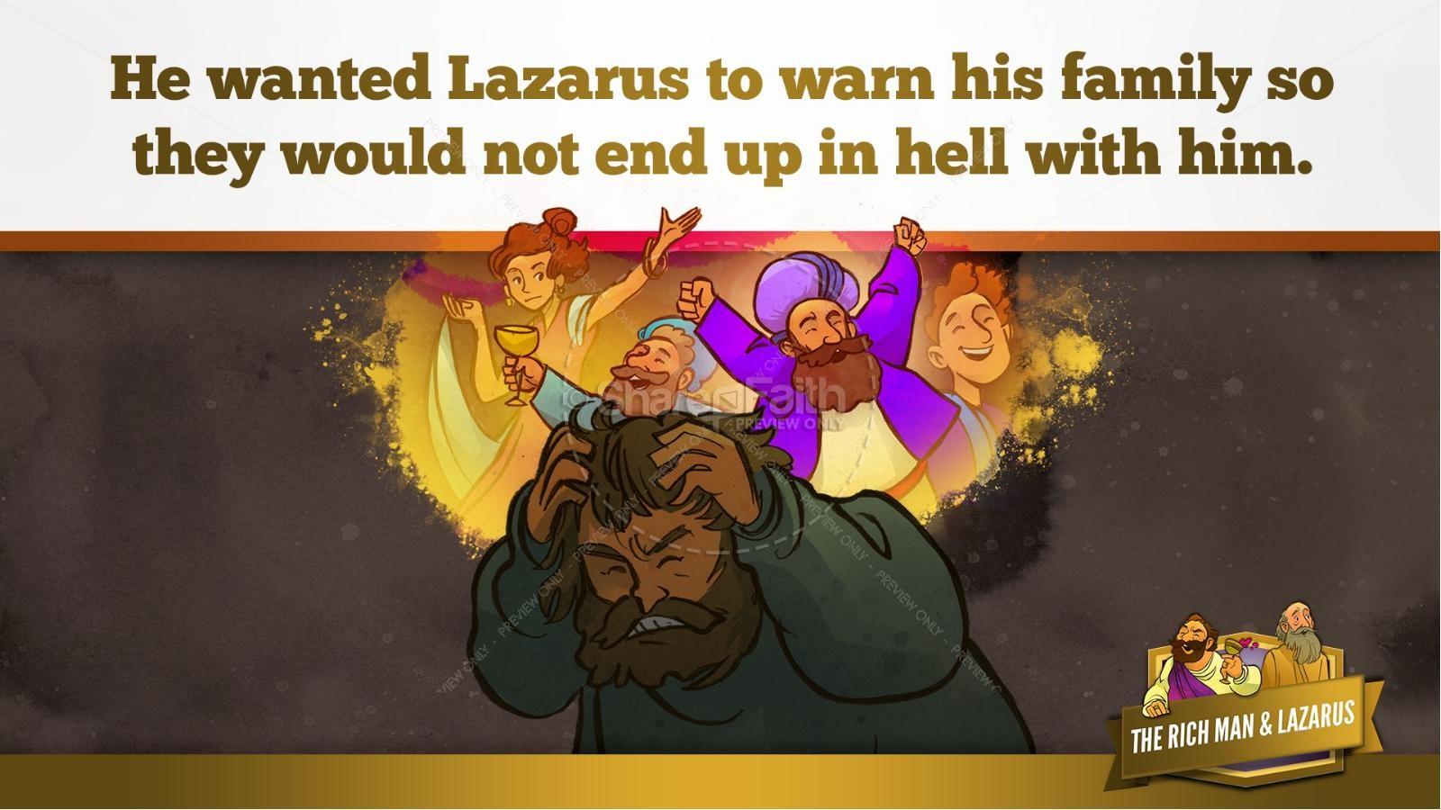 Luke 16 Lazarus and the Rich Man Kids Bible Story | slide 30