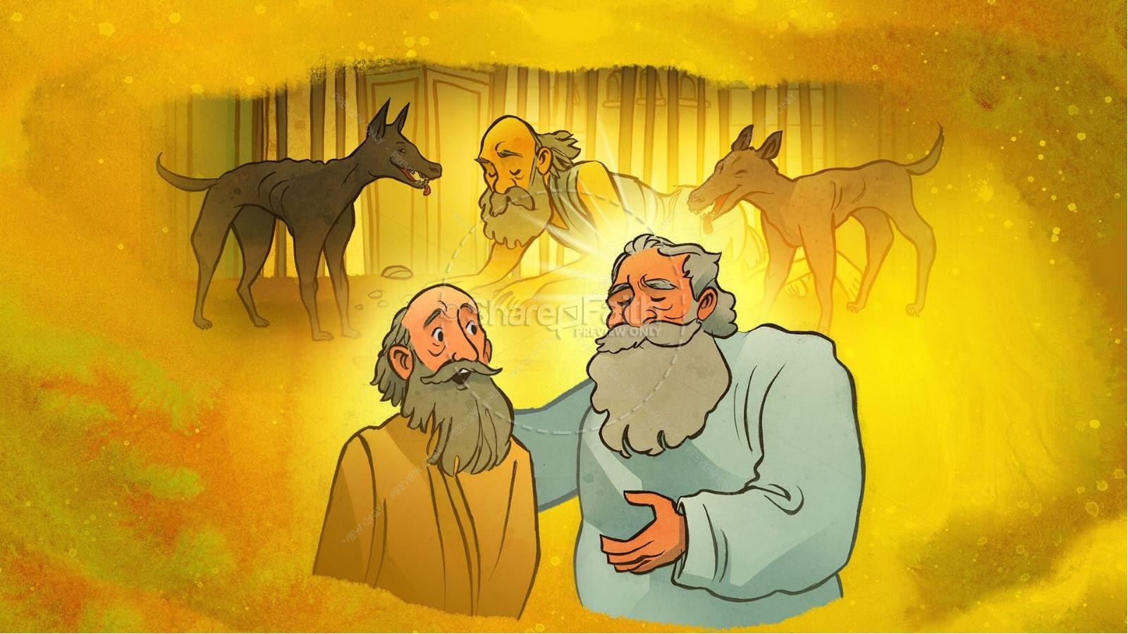Luke 16 Lazarus and the Rich Man Kids Bible Story | slide 6