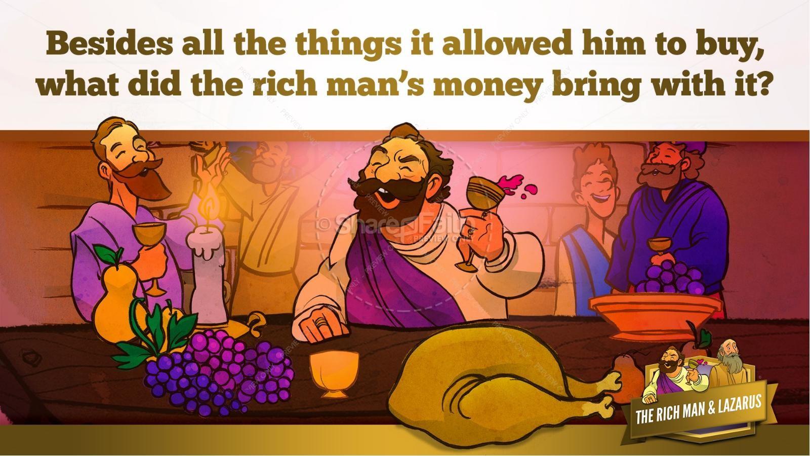 Luke 16 Lazarus and the Rich Man Kids Bible Story | slide 10